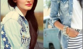 Модные жилеты и рубашки из джинсы
